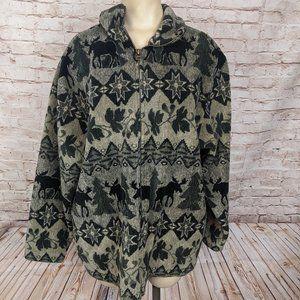 Vintage Cityscape Moose Ivy Fleece Jacket